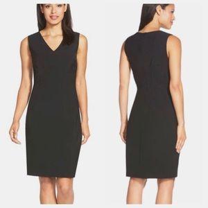 Elie Tahari Gwenyth V-Neck Black Sheath Dress